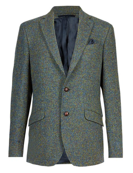 Pure Wool Tailored Fit 2 Button Harris Tweed Jacket