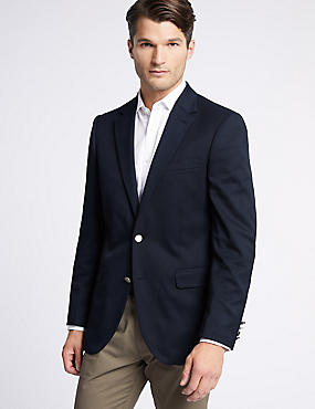 Navy Regular Fit Jacket