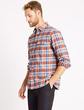 Pure Cotton Checked Shirt with Pocket, RED MIX, catlanding