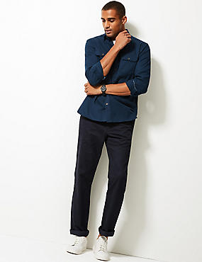 Pure Cotton Textured Shirt with Pockets, NAVY, catlanding