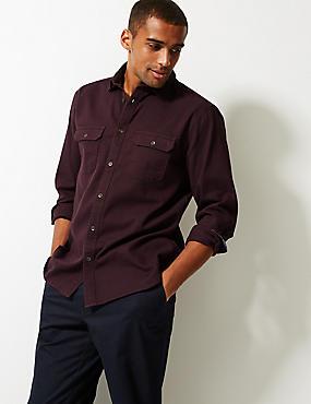 Pure Cotton Textured Shirt with Pockets, DARK AUBERGINE, catlanding
