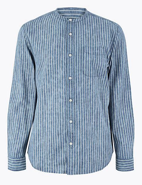 Cotton Striped Grandad Shirt