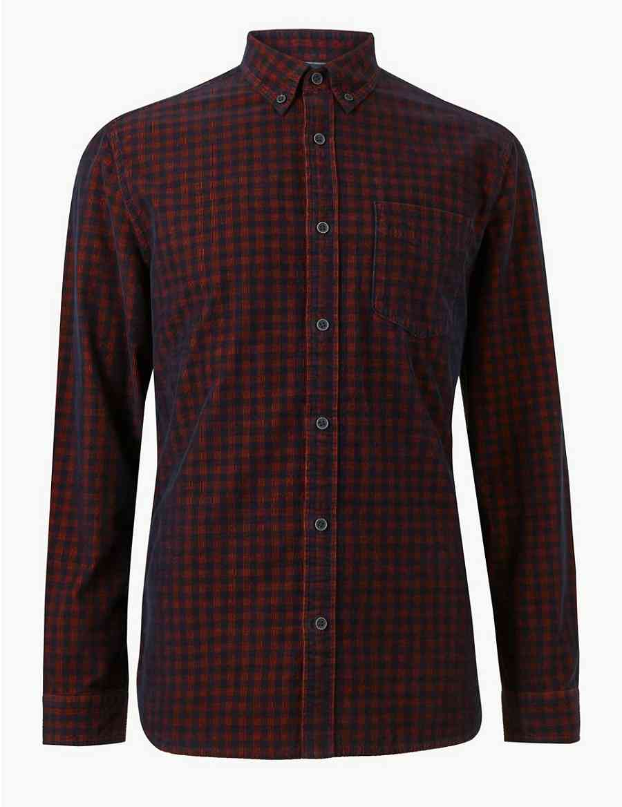 Pure Cotton Checked Shirt Ms Collection Ms