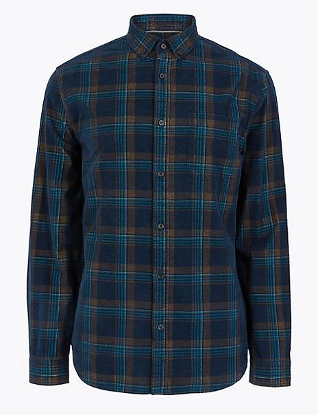 Pure Cotton Corduroy Checked Shirt