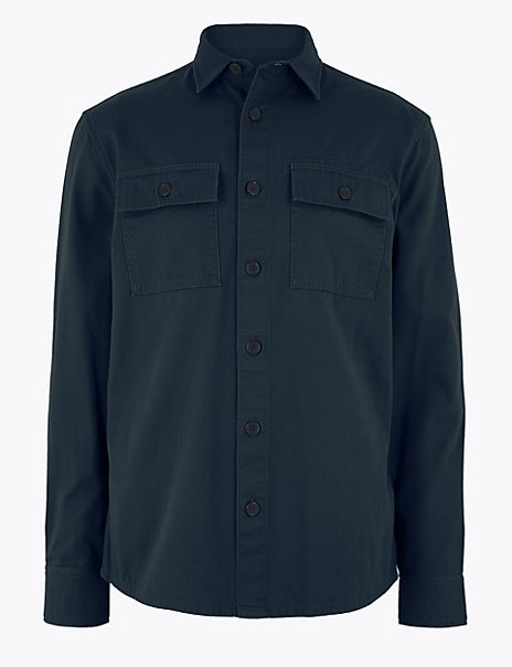 Pure Cotton Twill Overshirt