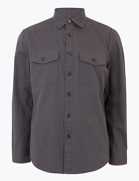 Pure Cotton Utility Overshirt