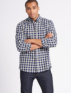 Flannel and Brushed Cotton Checked Shirt
