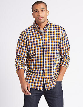 Pure Cotton Checked Shirt with Pocket, AMBER MIX, catlanding