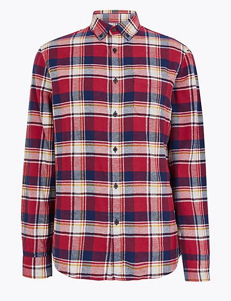 Pure Cotton Check Flannel Shirt