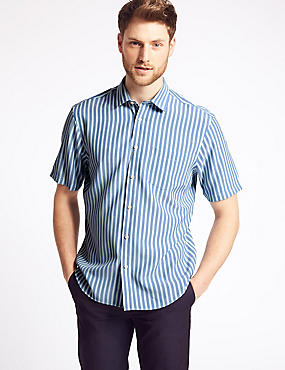 Modal Blend Striped Shirt with Pocket
