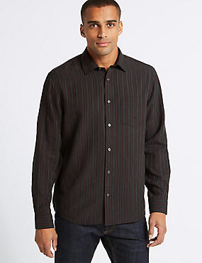 Modal Rich Striped Shirt with Pocket, AUBERGINE MIX, catlanding