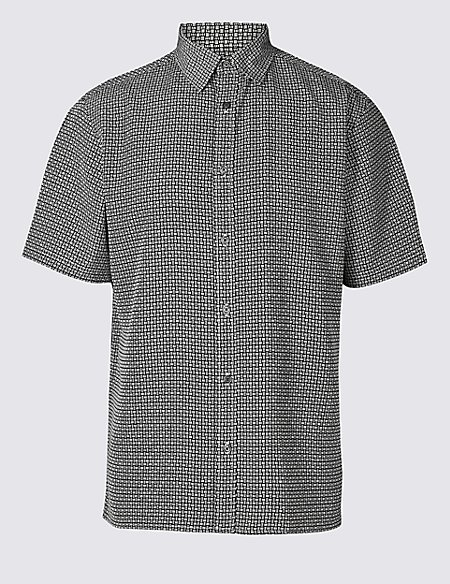 Relaxed Fit Geometric Print Shirt