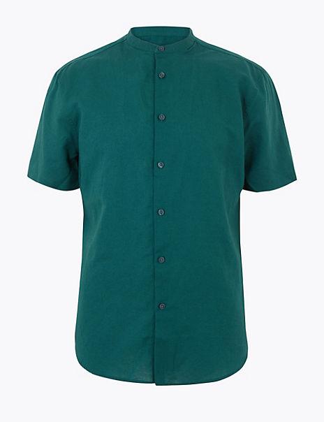 Linen Blend Grandad Shirt