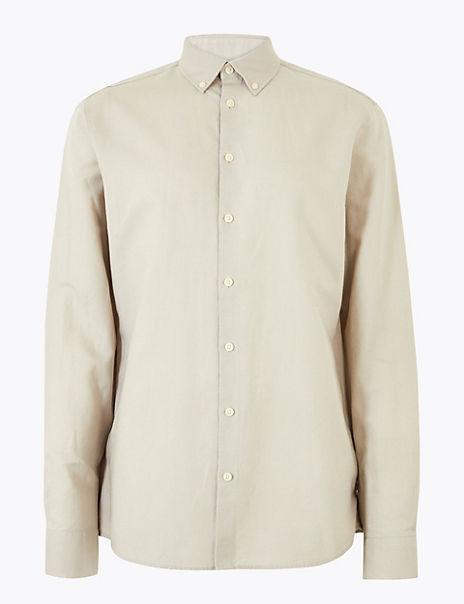 Linen Blend Easy Iron Regular Fit Shirt