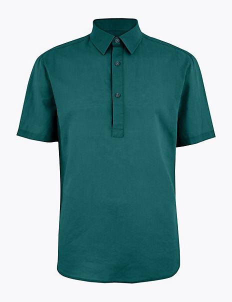 Linen Blend Easy Iron Shirt