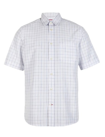 2in Longer Easy Care Soft Touch Short Sleeve Fine Checked Shirt