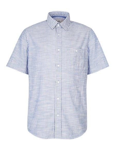 XXXL Pure Cotton Lightweight Bengal Striped Grosgrain Shirt