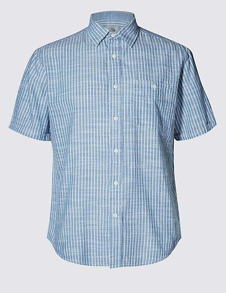 2in Longer Pure Cotton Short Sleeve Slub Striped Shirt