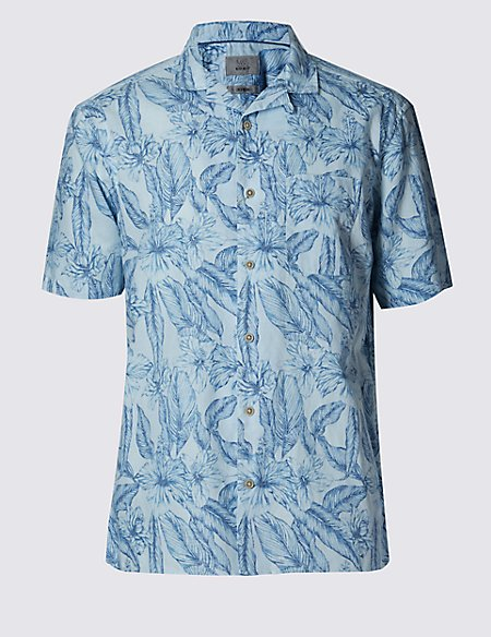 Linen Blend Easy to Iron Floral Shirt