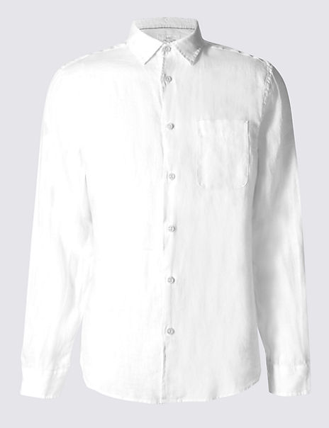 Easy Care Pure Linen Shirt with Pocket