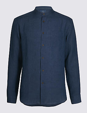 Pure Linen Slim Fit Striped Shirt with Pocket