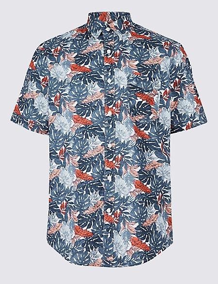 Pure Cotton Leaf Print Shirt