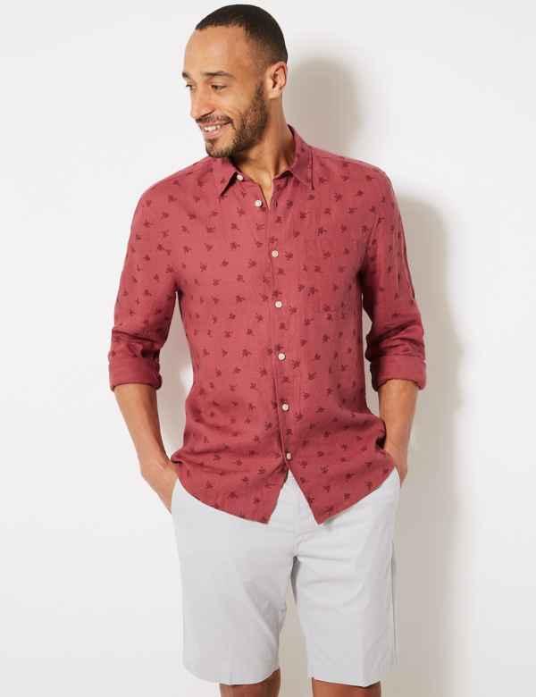 42dfac242c8 Pure Linen Palm Print Shirt