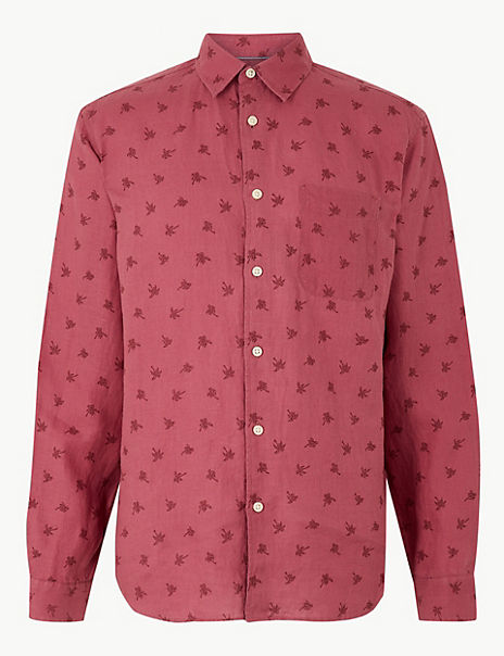 Pure Linen Palm Print Shirt