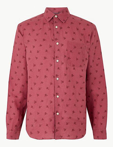 Pure Linen Palm Print Shirt
