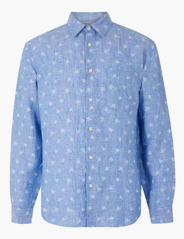 86081a251a5 Pure Linen Palm Print Shirt