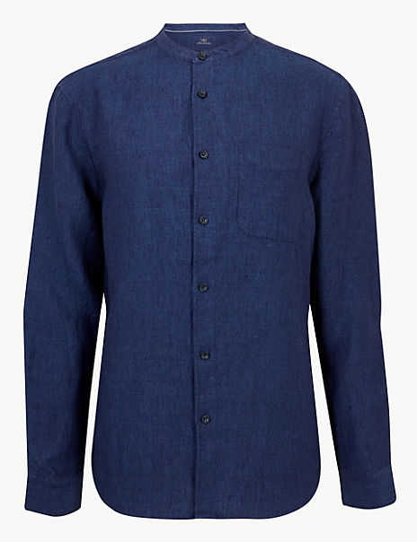 Pure Linen Grandad Shirt with Pocket