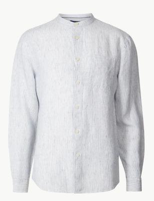 f03d68794b Pure Linen Striped Grandad Shirt with Pocket £35.00