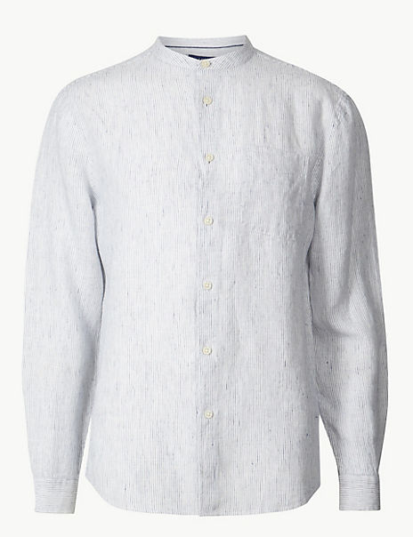 Pure Linen Striped Grandad Shirt with Pocket
