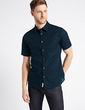 Linen Rich Slim Fit Shirt with Pocket, NAVY, catlanding
