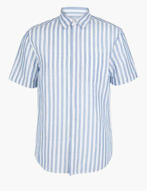 8763857029d Linen Rich Striped Shirt. New and Improved Fit