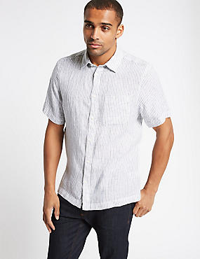 Pure Linen Striped Shirt with Pocket