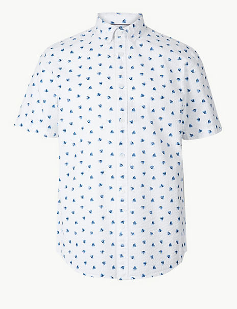 Pure Cotton Seersucker Shell Print Shirt