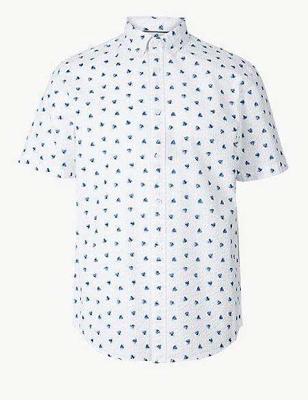 Pure Cotton Seersucker Shell Print Shirt