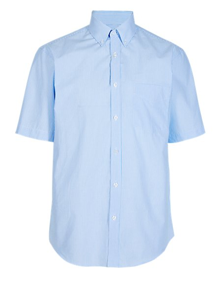 Pure Cotton Short Sleeve Striped Shirt