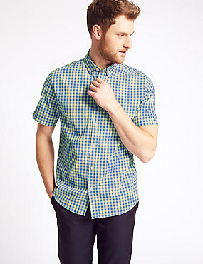 Pure Cotton Checked Shirt with Pocket, YELLOW MIX, catlanding