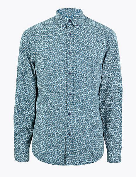 Cotton Mini Leaf Print Shirt