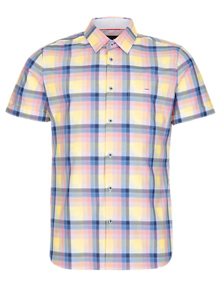 Supima® Pure Cotton Grid Checked Slim Fit Shirt
