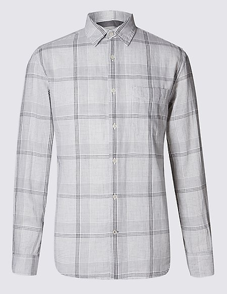 Pure Cotton Linear Checked Shirt