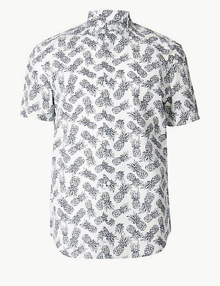 Pure Cotton Pineapple Print Shirt