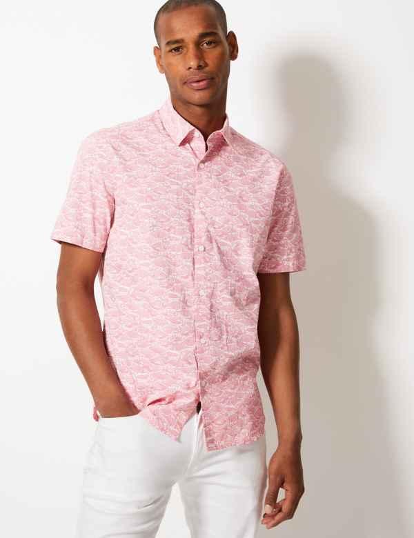 7471f653 ... Mens Casual Shirts. Sparks. Pure Cotton Fish Print Shirt