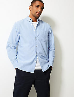Pure Cotton Plain Oxford Shirt