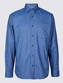 Pure Cotton Slim Fit Oxford Shirt with Pocket