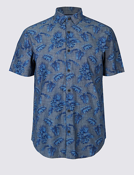 Pure Cotton Slim Fit Palm Print Shirt