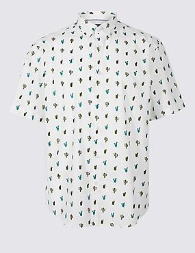 Pure Cotton Slim Fit Cactus Print Shirt