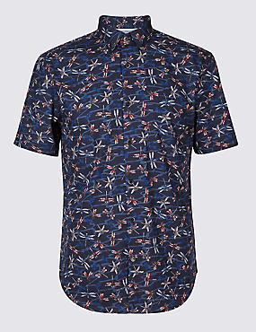 Pure Cotton Slim Fit Dragonfly Print Shirt